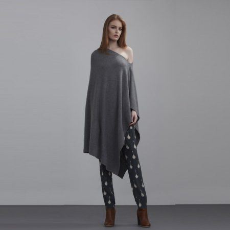 Knitted Poncho - Charcoal