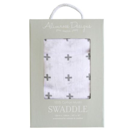 100% Cotton Muslin Swaddle - Charcoal Cross