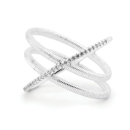 Criss Cross Double Band Ring in Silver