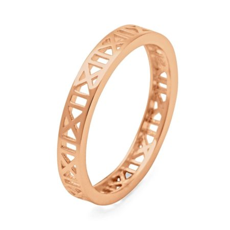 Roman Numeral Ring in Rose Gold Plated Silver