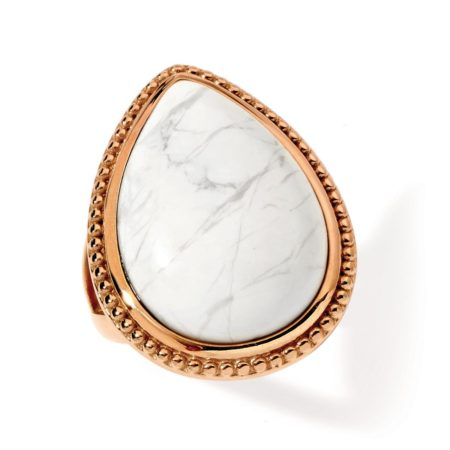 Tear Drop Ring with White Howlite in Rose Gold Steel