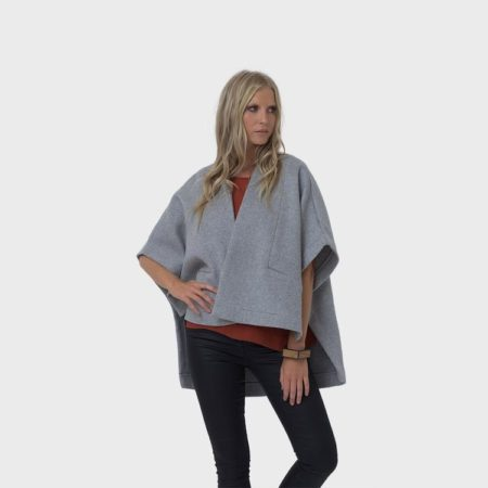 Panelled Wool Cape Poncho Grey Marle