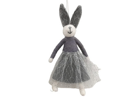 Meadow Felt and Sparkle Hanging Bunny Grey - lge H20cm