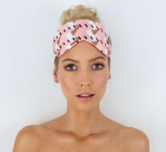 Chloe Eye Mask in Blush Geometric