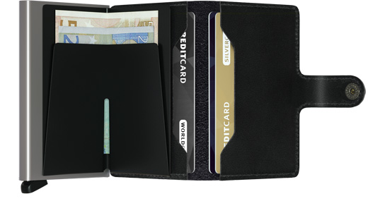 Miniwallet Leather Black Open