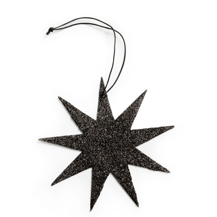 Glitter Star Ornament Black