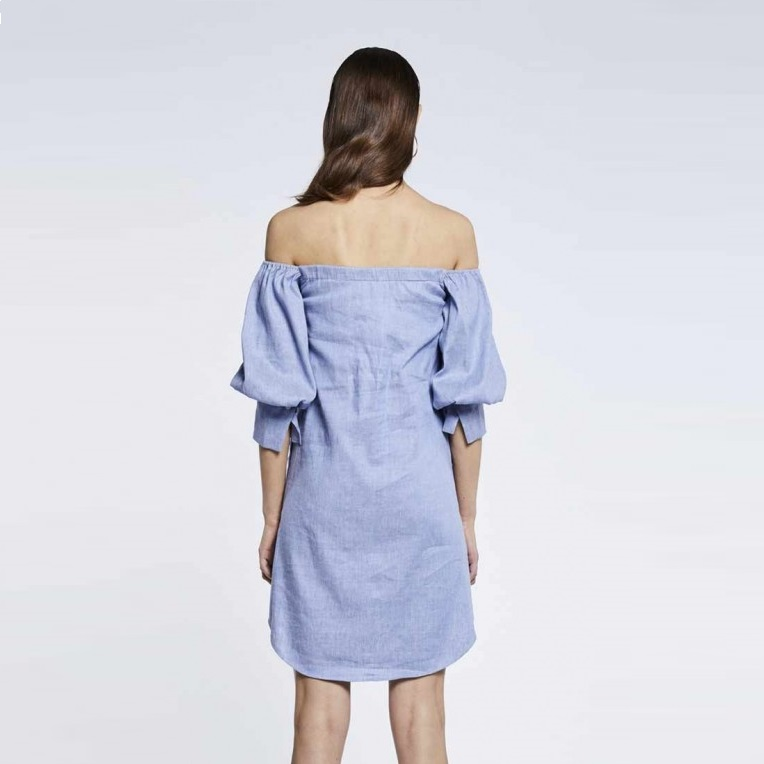 Off The Shoulder Volume Sleeve Dress Back