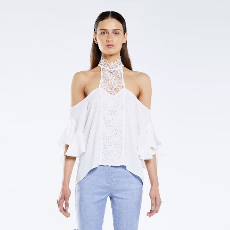 Lace Neck Ruffle Sleeve Top