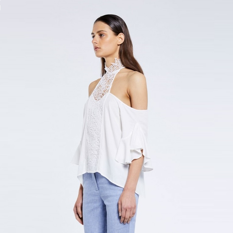 Lace Neck Ruffle Sleeve Top Side