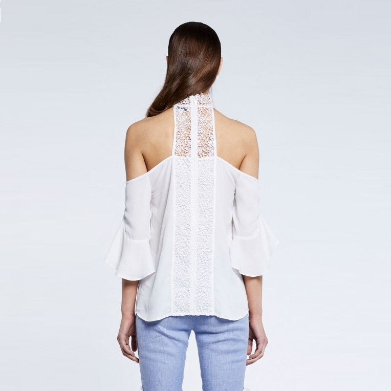 Lace Neck Ruffle Sleeve Top Back