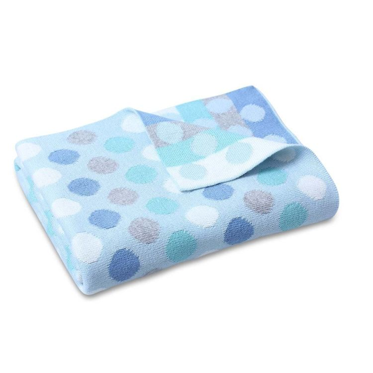 Bubble Knit Spot Stroller Blanket Aqua