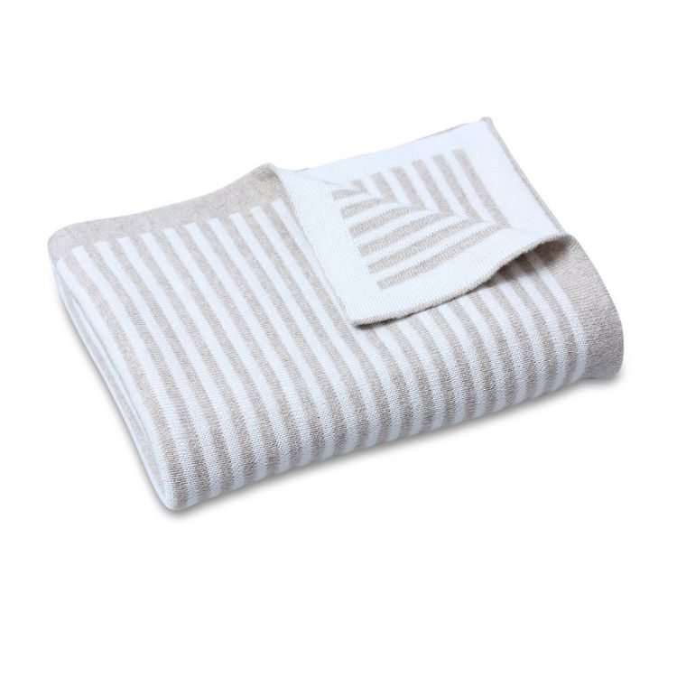 Cotton Knit Stripe Blanket Natural