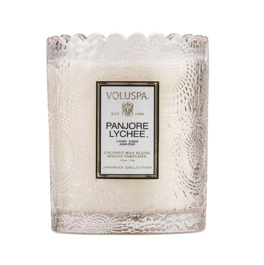 Panjore Lychee Scalloped Edge Glass Candle