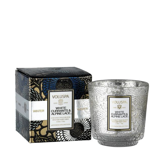 White Currants and Alpine Lace Mini Pedestal Candle