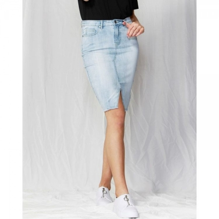 Bowie frayed hem denim skirt light blue front