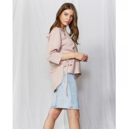 Kalia waist tie blouse in blush