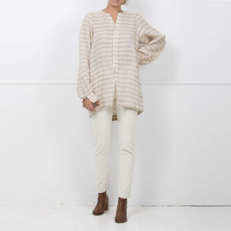 Collide oat stripe linen top