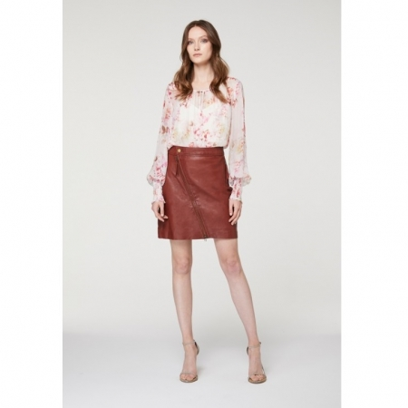 Diagonal zip washed sienna leather skirt