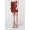 Diagonal zip washed sienna leather skirt front