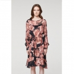 Members chiffon sleeve cupro tie waisted dress - Eden floral