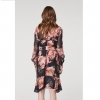 Members chiffon sleeve cupro tie waisted dress - Eden floral back