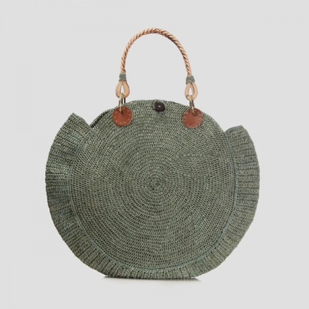 Nova raffa and vegan leather handle bag - green