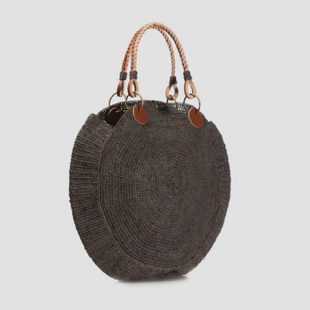 Nova raffa and vegetal leather handle bag - grey