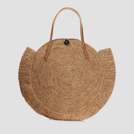 Round crocheted raffia bag with vegetal leather straps - natural