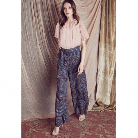 Sloane Cupro blend wide leg pant - Mayfair print front