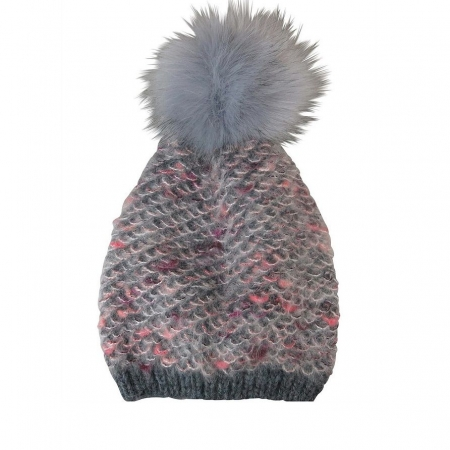 Charcoal mix fuzzy look beanie with fur pompom