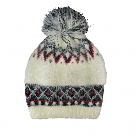 Cream fairisle knit beanie with self pompom