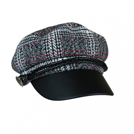 Grey check cap with PU brim