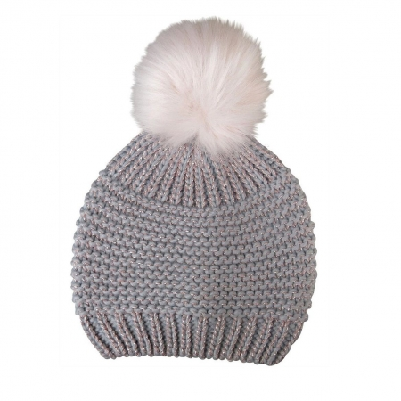 Grey knit beanie with pink lurex and fur pompom