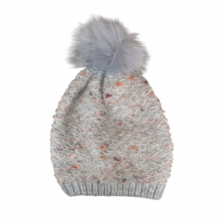Grey mix fuzzy look beanie with fur pompom