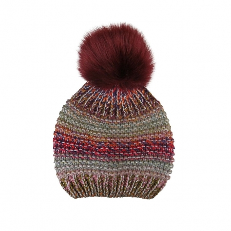 Multi-coloured striped beanie with fur pompom