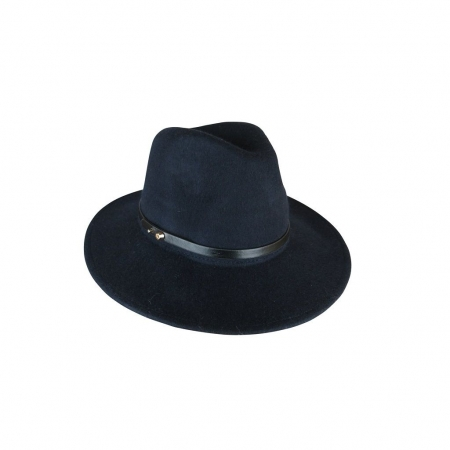 Navy felt fedora with PU band