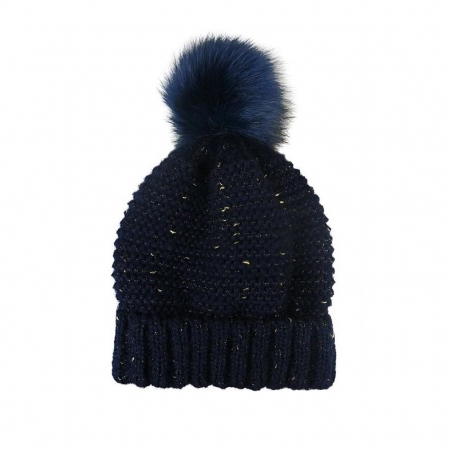 Navy knit beanie with fleck of gold and fur pompom