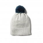 Steel blue speckle knitted hat pompom