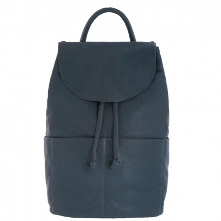 Bonnie drawstring leather backpack - Denim