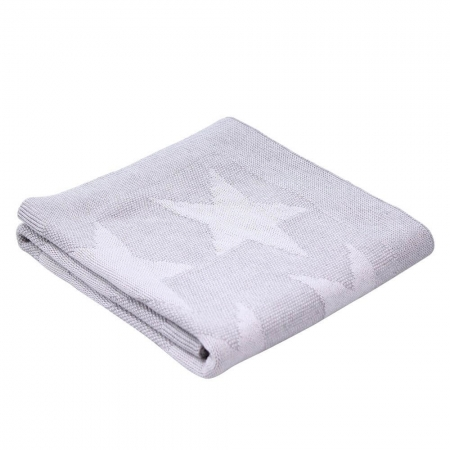 Cotton knit reversible stars - grey