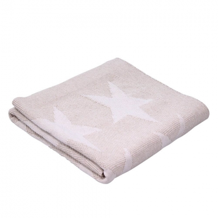 Cotton knit reversible stars - natural