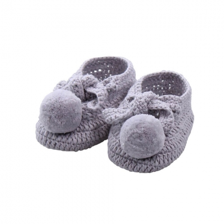 Hand crocheted pure cotton baby bootees - grey
