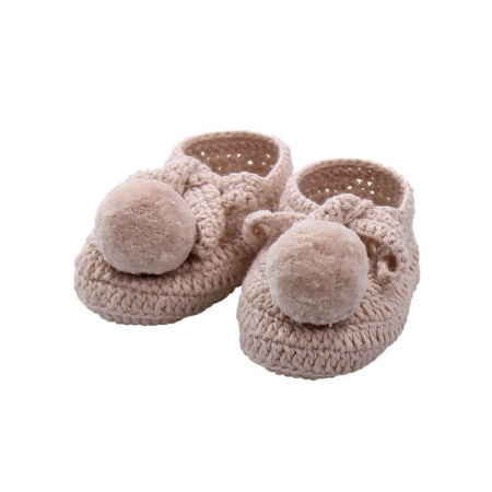 Hand crocheted pure cotton baby bootees - natural