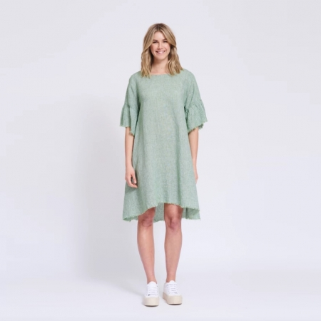 Frayed edge dress in green houndstooth front