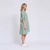 Frayed edge dress in green houndstooth