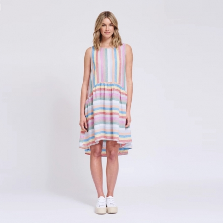 Sleeveless babydoll dress in rainbow