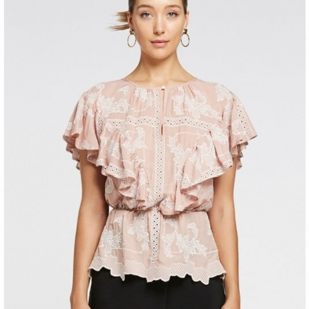 Metaphor flounce top in blush/white color - front view
