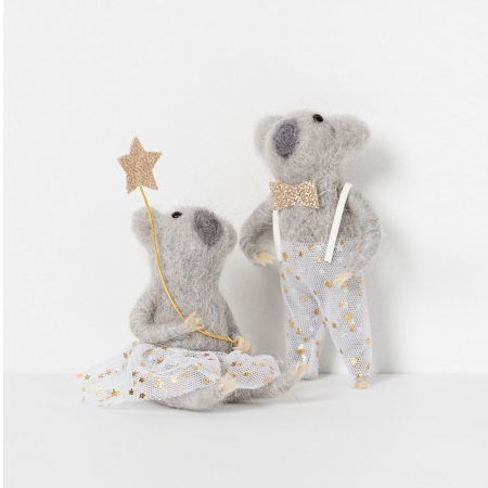 North Pole hanging koala boy with champagne bow