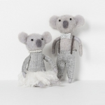 North Pole hanging koala boy with silver bow