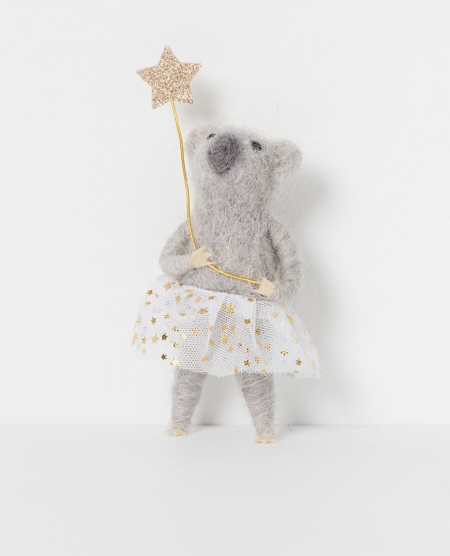 North Pole hanging koala girl with champagne star standing
